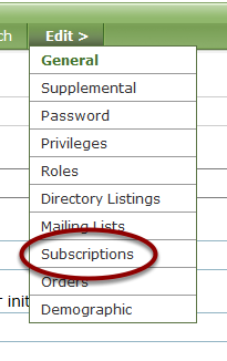 Mouse over EDIT and go to the SUBSCRIPTIONS subform