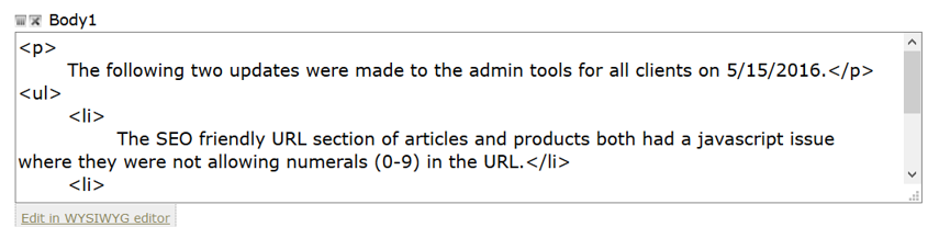 Edit in the HTML in the Body of the page or article.