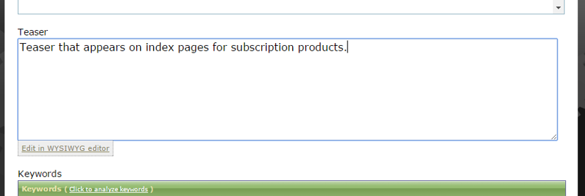 Add a teaser, which will appear on index pages for products.