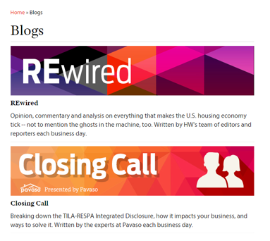 Here's an example of a blog landing page from Housing Wire, featuring two blogs, Rewired and Closing Call:
