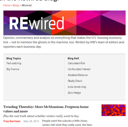 Here's an example of a single-blog landing page, listing blog posts and other links and information associated with the Rewired blog: