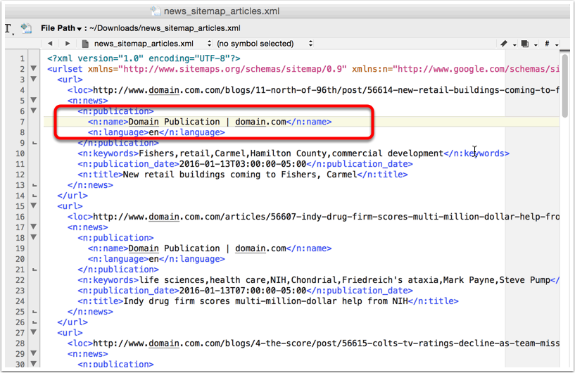Here's an example of XML code and where you'll find the name.