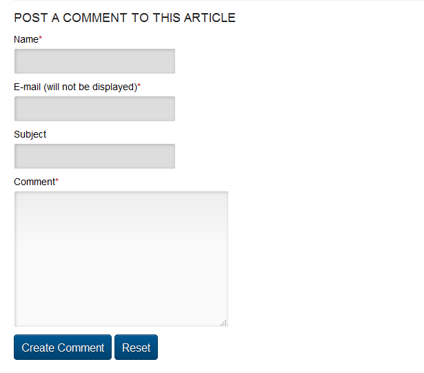 Here's an example of a comment form on an article.