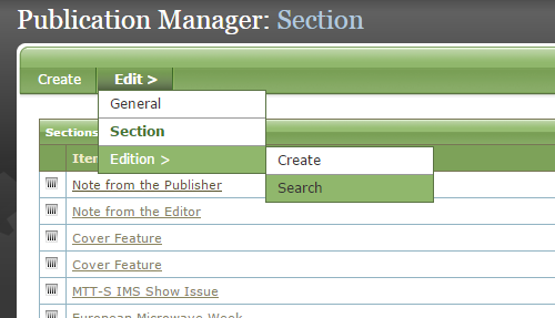 To select and edit an existing edition of that publication, click Search next to Edition under Edit.