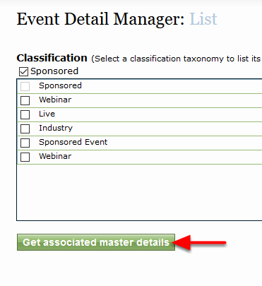 Select the Get Associated Master Details button