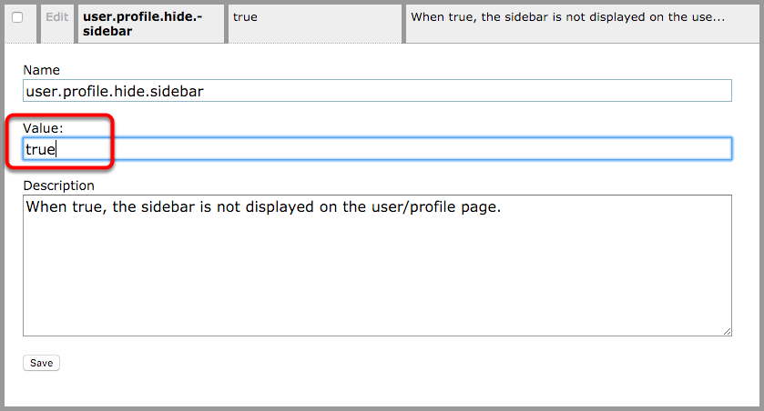 """To turn the sidebar OFF, type """"true"""" in the Value field."""
