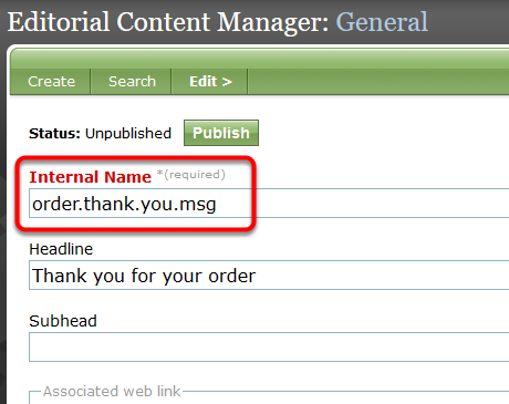 Do NOT change the content in the Internal Name field.