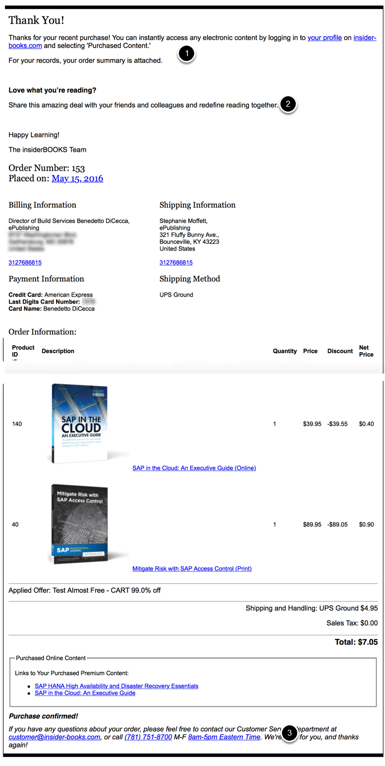 Here's a sample order confirmation page with the various editorial content areas highlighted.