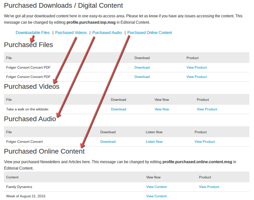 Possible sections of Purchased Content