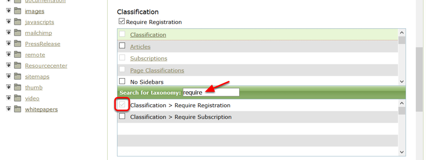 Find the Require Registration taxonomy under Classification within the downloadable file in the Media Manager.