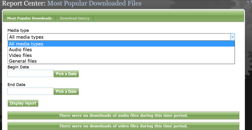 "Display an overview of downloads of either All media types, or specific file types (whitepapers fall under ""General files"") by selecting the dropdown menu and dates, and clicking Display Report."