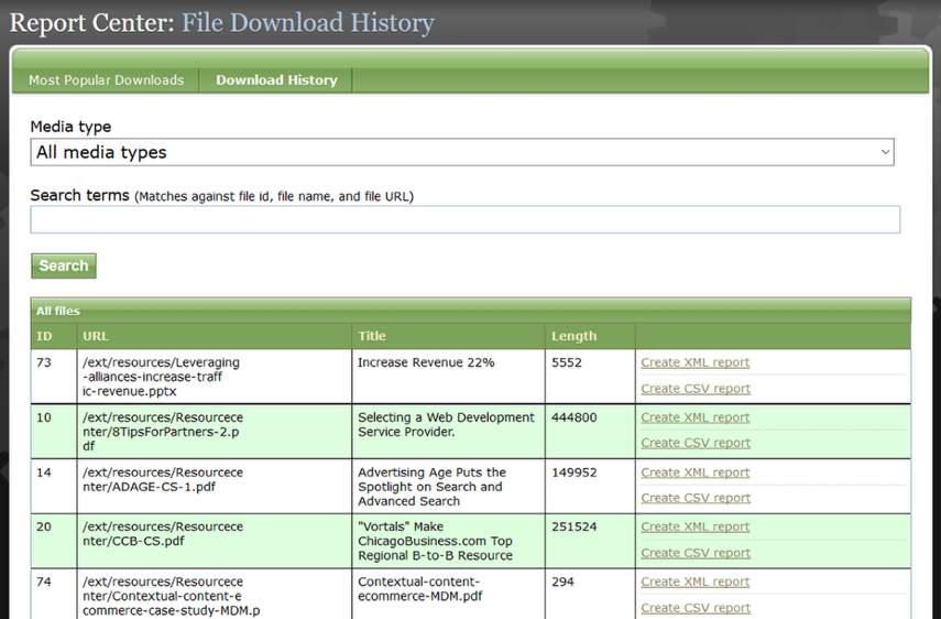 Filter by Media type or input your Search terms at the top and click Search. Or scan the files.