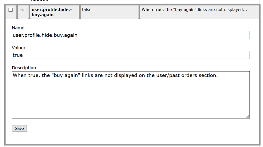 """To turn the Buy It Again area OFF, type """"true"""" in the Value field."""