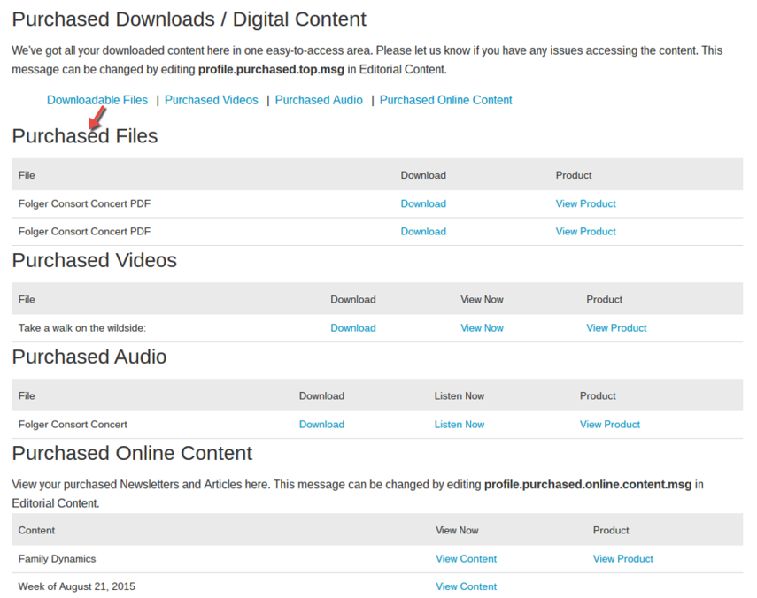 Downloadable Files: In the Purchased Files section, downloadable files will be listed.
