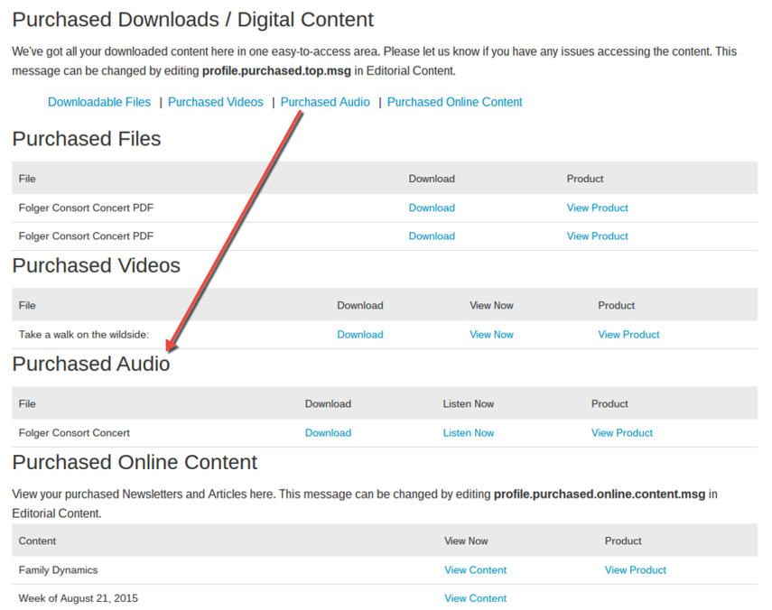 Purchased Audio: In this section, view purchased audio.