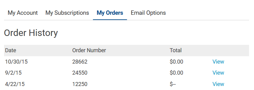 In the past, the Order History page was a simple table.