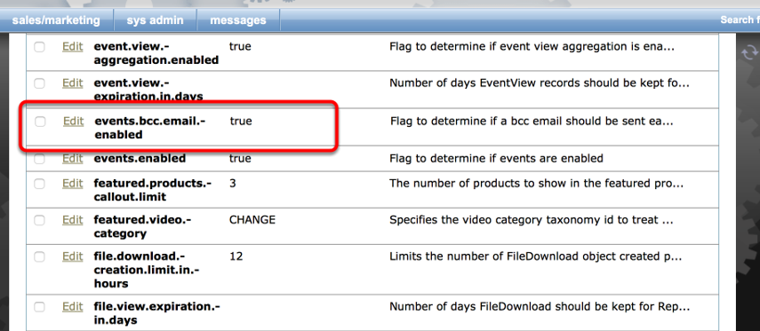 Scroll down to the events.bcc.email.enabled system setting. Click Edit to view the settings.
