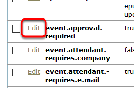 To edit a setting, click Edit next to the name.