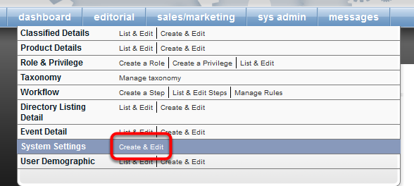 Within Admin, navigate to sys admin > System Settings > Create & Edit