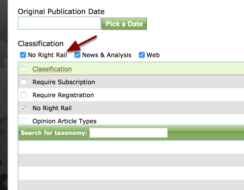 """Select the Classification """"No Right Rail"""" or """"No Sidebar"""", whichever your site uses"""