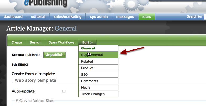 Go to the Article Manager > Supplemental web form