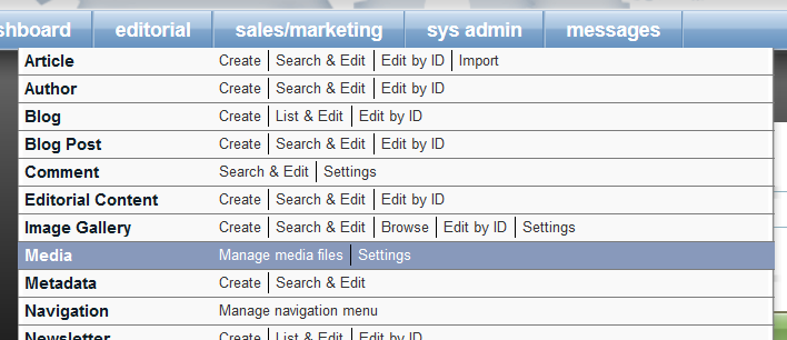 Open the Media Manager by clicking Manage Media Files under Editorial in Admin.