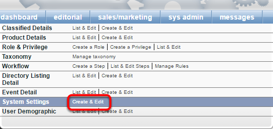 1. If you would like to be notified when an order transaction fails, go to Sys Admin > System Setting > Create and Edit.