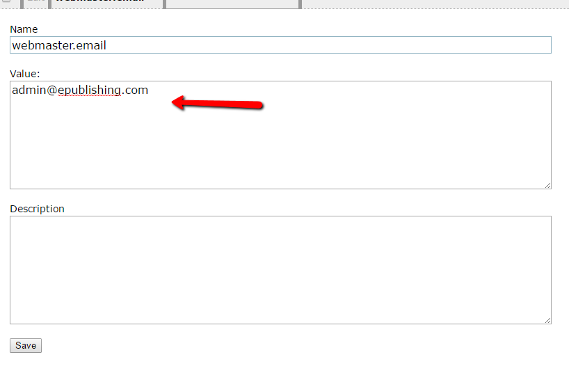 9. Click edit and put the email address you want to send the notifications from in the value field.