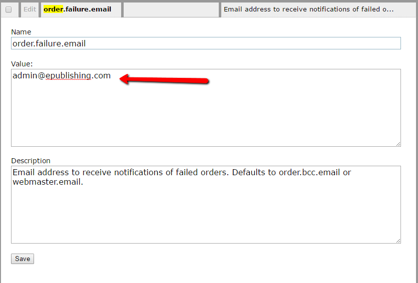 6. Click Edit and type the email address in the Value field.