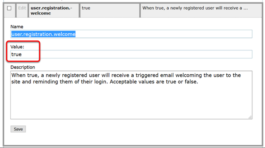 """Update the Value to """"true"""" if you want registered users to receive an email. Set it at """"false"""" if you don't."""