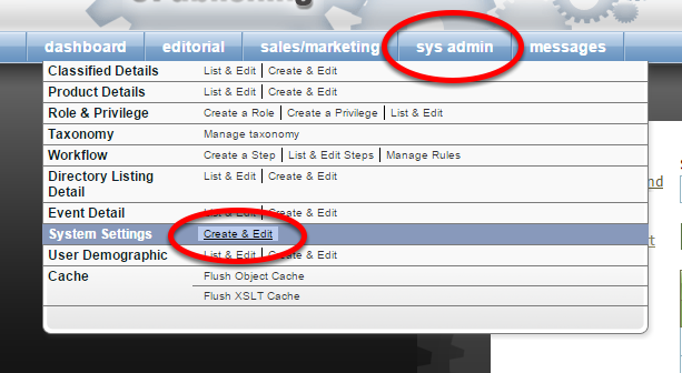 Access the Sys Admin menu in your ePublishing tools dashboard.