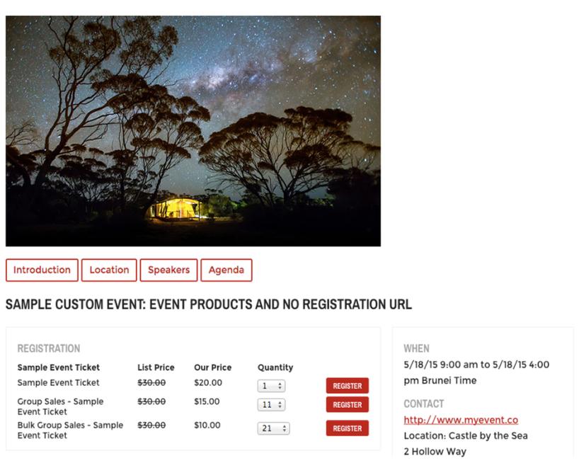 Custom Event Layout
