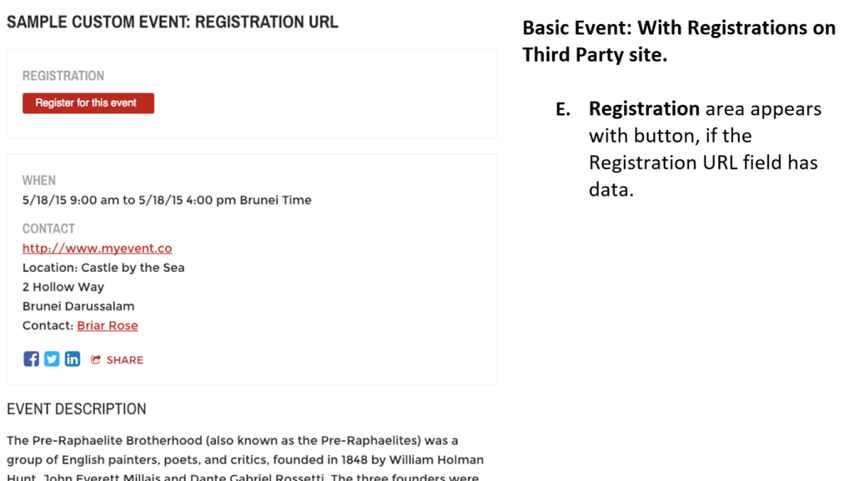 Basic Layout: Registrations on Third-Party Site