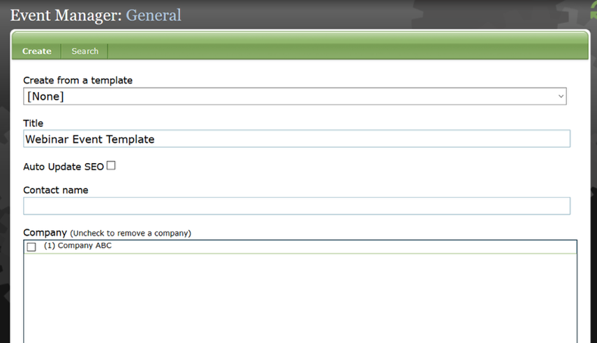 Create a generic event that has all of the taxonomy selections and other general data completed.