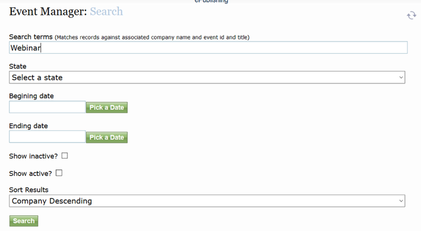 Enter your Search terms in the top field, including keywords matching associated company names, event ID or title.