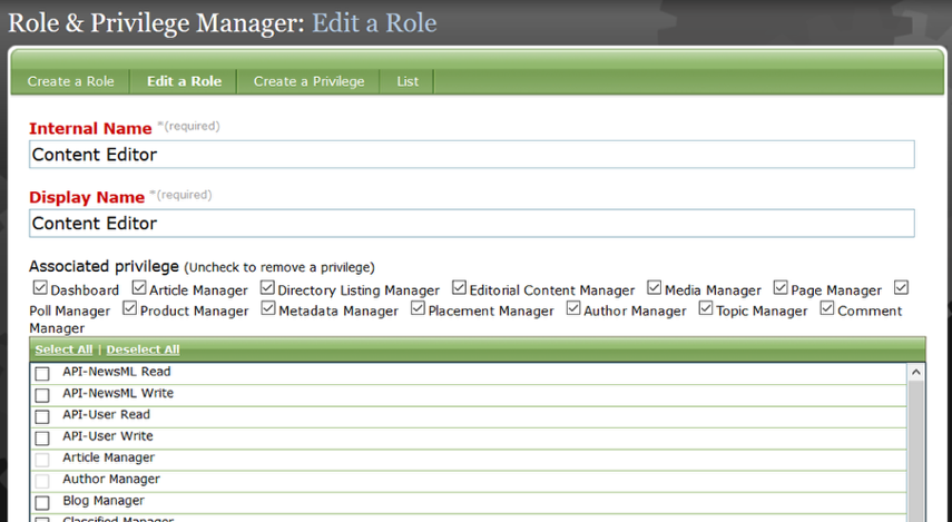 The privileges associated with the selected role will appear at the top, checked.