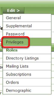 To remove privileges, click Privileges under Edit.