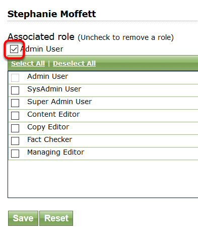 Click the checked role next to the Associated Role name to remove a role. Click Save.