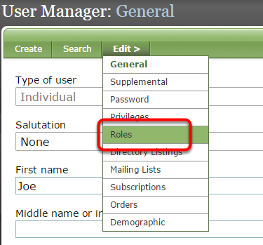 Under Edit, select Roles to assign a role to or remove a role from the user.