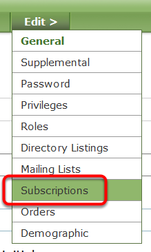 After finding and opening the reader's account, go to Edit > Subscriptions.