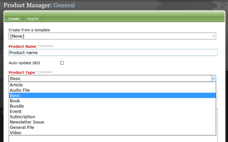 Create upgrade and/or renewal products using the Product Manager.