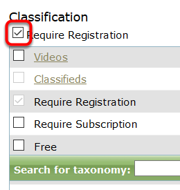 If your product is tagged as Require Registration or Require Subscription, simply click the checkbox next to that selection to remove the checkmark.