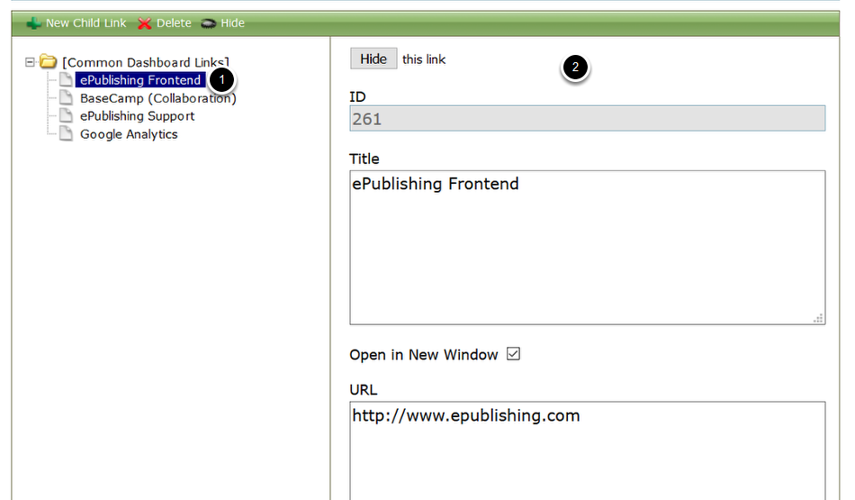To modify a link: