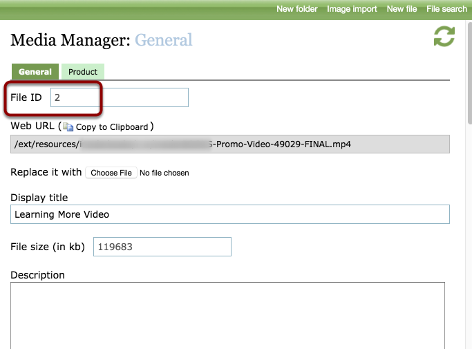 Find the ID number of the video in the Media Manager for the specific video.
