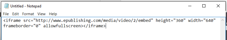 Using your text editor, create the embed code using the ID number of the video.