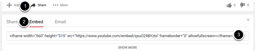 If the video is on YouTube, Vimeo, or other 3rd party site, copy the embed code for the video while in those services. For example: