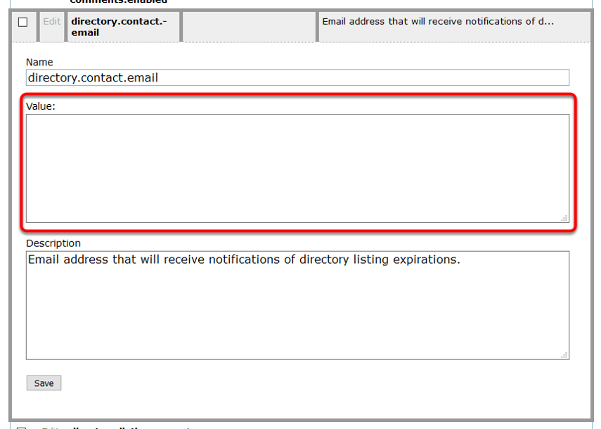 Update the Value with the email address you'd like to send expiration notices to internally.