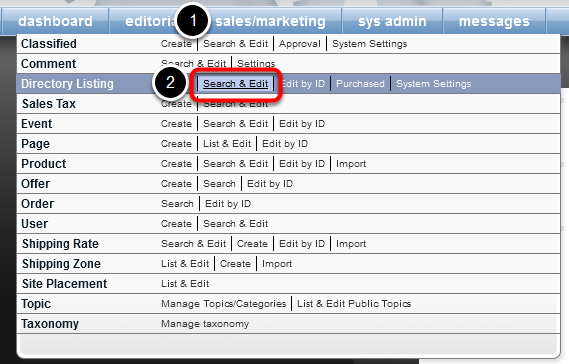 Open the Directory Listing Manager's Search Form.