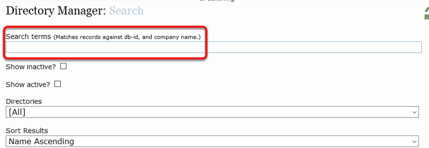 Enter the listing's company name/listing name or the ID Number.