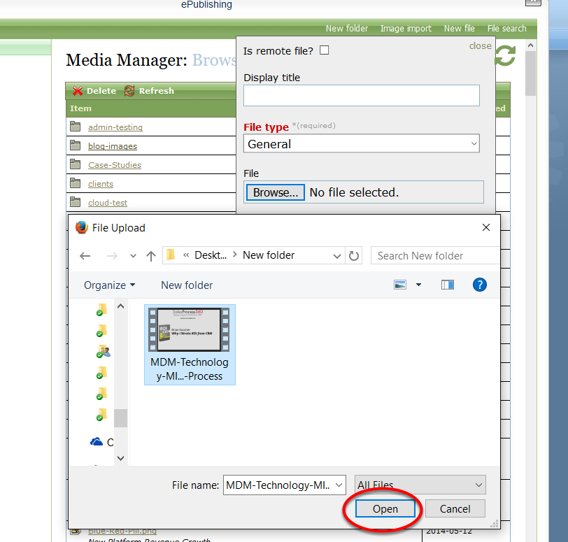 Select your video media file and click Open.
